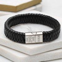 Personalised Leather Monogram Bracelet, Brown/Black/Grey