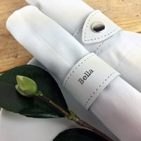 Set Of Four Personalised Leather Napkin Rings