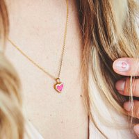 Gold And Enamelled Heart Necklace, Gold
