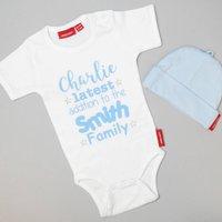 Personalised Latest Addition Babygrow Or T Shirt, Aqua/Blue/Navy