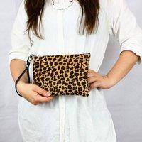 Animal Print Leather Clutch Bag