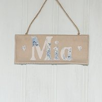 Personalised Linen And Floral Door Hanger, Blue/White/Pink