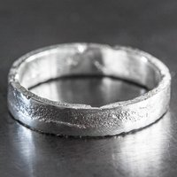 Personalised Silver 4mm Rectangle Sand Cast Ring, Silver
