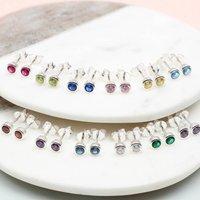 Sterling Silver Birthstone Earrings, Silver
