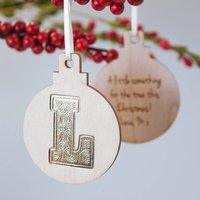 Personalised Gold Foil Initial Letter Bauble