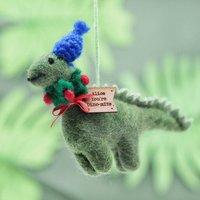 Personalised Felt Wreath Dinosaur Christmas Decoration
