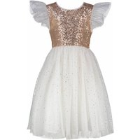 Flower Girls Dress Gold Sequin And Ivory Star Tulle