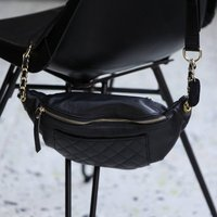 Quilted Front Pocket Crossbody Genuine Leather Handbag