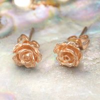 Rose Gold Flower Rose Petal Stud Earrings, Gold