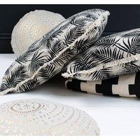Tropical Print Black And White Cushion