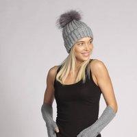 Cashmere Pom Pom Hat Grey Hat