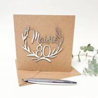 Personalised Papercut 80th Birthday Card