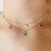 London 18k Gold Plated Multi Star Necklace, Gold
