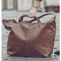The Finest Italian Leather Travel Bag. The Fabrizio, Chestnut/Tan/Dark Chocolate