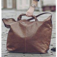 The Finest Italian Leather Travel Bag. The Fabrizio, Chestnut/Tan/Dark Chocolate