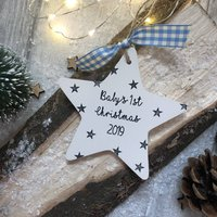 Personalised Babys First Christmas 2020 Ceramic Star