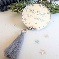 Personalised Teacher Gift Silver Acrylic Keyring