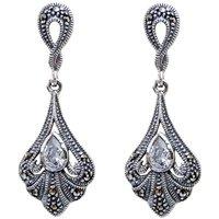 Vintage Inspired Marcasite Swirl Earrings
