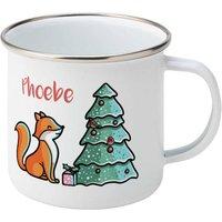 Personalised Christmas Fox Silver Rimmed Enamel Mug