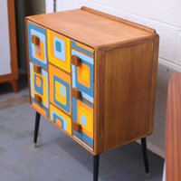 Mid Century Formica 60s Design Chest Of Drawers