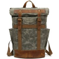 Large Roll Top Waxed Canvas Backpack