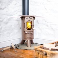 'The Fintan' Glamping Wood Stove, Black/Brown