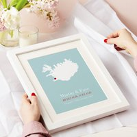 Personalised Treasured Location Print, Coral/Plum/Sky Blue
