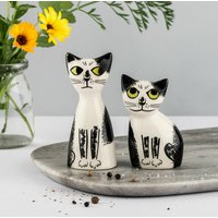 Handmade Ceramic Cat Salt And Pepper Shakers, Grey/Ginger/Black