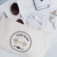 Personalised Tough Mama New Mum Makeup Bag, Black/Gold