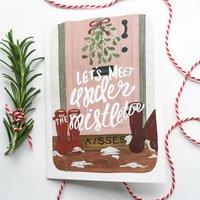 'Mistletoe Kisses' Christmas Card Single/Set Of Six