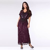 Angelina Angel Sleeve Maxi Flapper Dress Plum