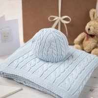 Pale Blue Cable Baby Blanket And Hat Gift Set