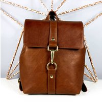 Handcrafted Small Caramel Brown Backpack