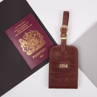 Personalised Leather Luggage Tag. 'The Ledro', Chestnut/Tan/Dark Chocolate