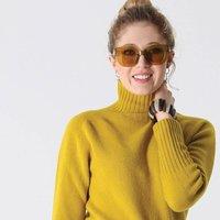 Womens Skye Saffron Yellow Long Neck Lambswool Jumper