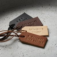 Personalised Handstamped Leather Luggage Tag, Chestnut/Brown/Ebony