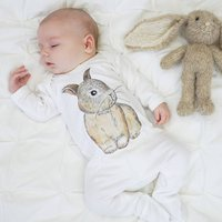 Baby Bunny Rabbit Watercolour Baby Sleepsuit