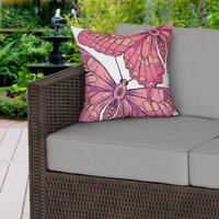 Pink Butterflies Water Resistant Outdoor Cushion