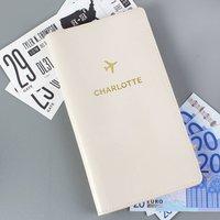 Personalised Cream Gold Initial Document Holder
