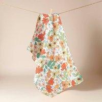 Peach Floral Tea Towel