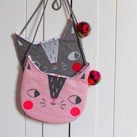 Childrens Cat Handbag, Pink/Grey/Black