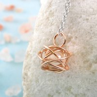 Rose Gold Caged June Birthstone White Pearl Necklace, Gold