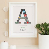 Space Themed Personalised Initial And Name Print