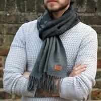 Men's Personalised Lambswool Grey Herringbone Scarf