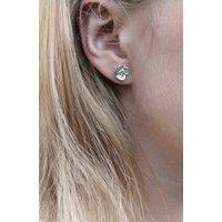 Sterling Silver Poppy Stud Earrings, Silver