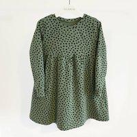 Sage Green Dotty Childrens Dress