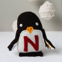 Personalised Christmas Penguin, Red/Blue/Green