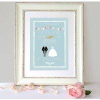 Personalised Keepsake Wedding Print, Plum/Cream/Platinum