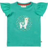 Girls Turquoise Short Flutter Sleeve Alpaca T Shirt