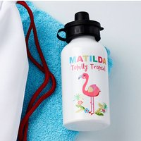 Girls Personalised Flamingo Water Bottle